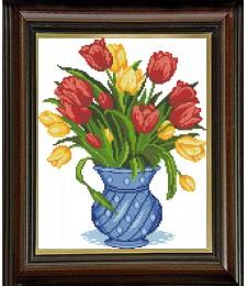Синя ваза с лалета 1:1